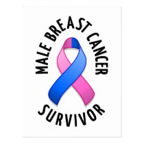 Male Breast Cancer Survivor Postcard