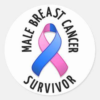 Male Breast Cancer Survivor Round Sticker