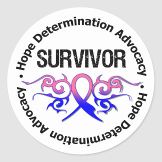 Male Breast Cancer Survivor Tribal Ribbon Round Stickers