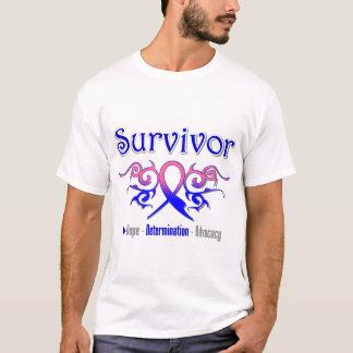 Male Breast Cancer Survivor Tribal Ribbon T-Shirt