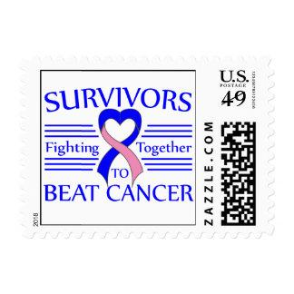 Male Breast Cancer Survivors Fighting Together Stamp