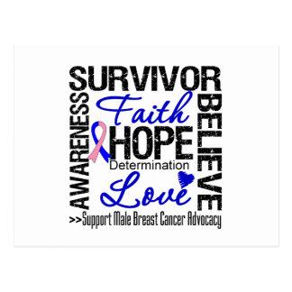 Male Breast Cancer Survivors Motto Post Card