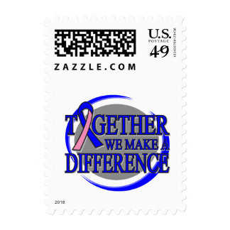 Male Breast Cancer Together We Make A Difference Stamp