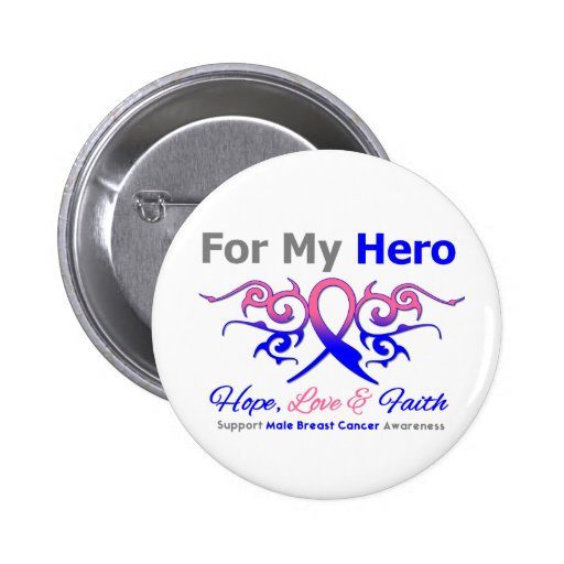 Male Breast Cancer Tribal Ribbon Hero Pinback Buttons