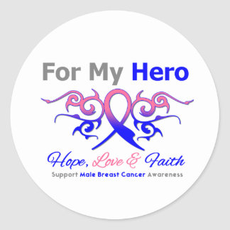 Male Breast Cancer Tribal Ribbon Hero Classic Round Sticker