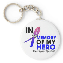 Male Breast Cancer Tribute In Memory of My Hero Keychain