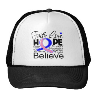 Male Breast Cancer Typographic Faith Love Hope Trucker Hat