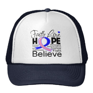 Male Breast Cancer Typographic Faith Love Hope Mesh Hat