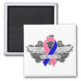 Male Breast Cancer Winged SURVIVOR Ribbon Magnets