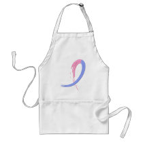Male Breast Cancer's Blue And Pink Ribbon A4 Adult Apron
