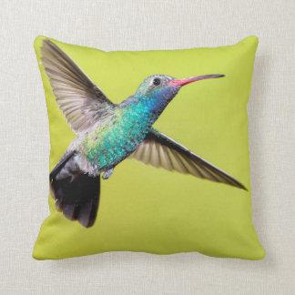Male broad-billed hummingbird in flight throw pillow