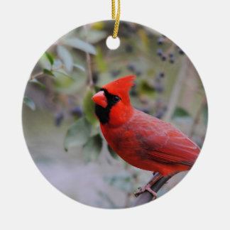 Male Cardinal 3 Ceramic Ornament