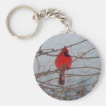 Male Cardinal Basic Round Button Keychain