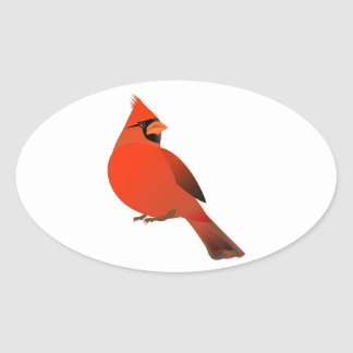 Male Cardinal Bird Oval Stickers