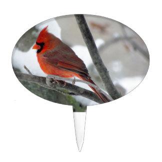 Male cardinal cake topper