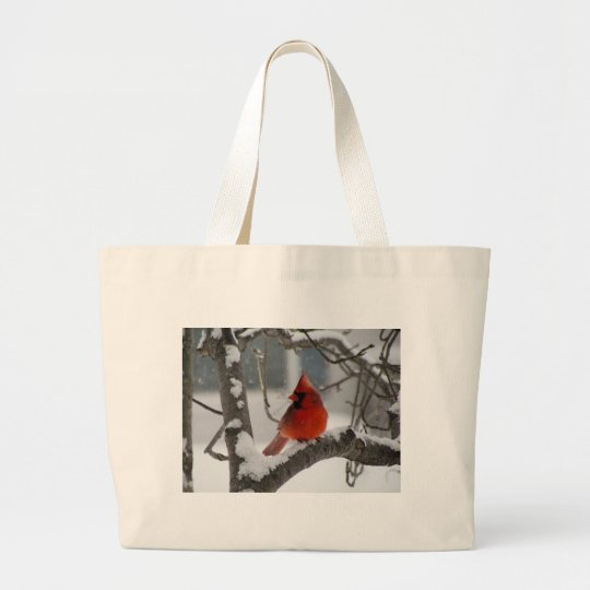 Male Cardinal Large Tote Bag