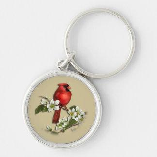 Male Cardinal on Dogwood Keychain