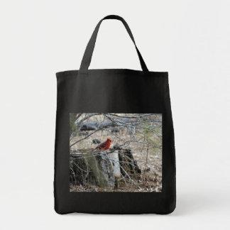 Male Cardinal on Tree Stump Tote Bag