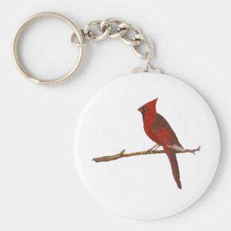 """Male Cardinal"" Round Keychain"