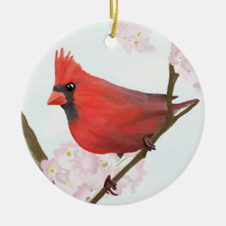 Male Cardinal Sitting in a Cherry Blossom Tree Double-Sided Ceramic Round Christmas Ornament