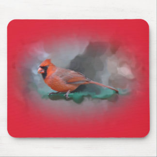 Male Cardinal Songbird Mouse Pad