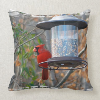 Male Cardinal Throw Pillow