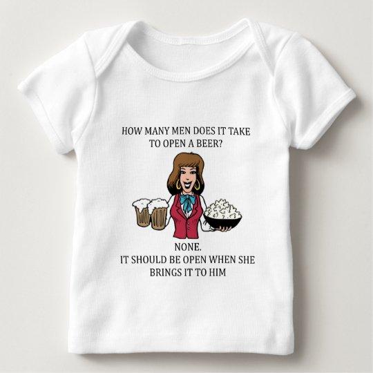 male chauvinist beer joke baby T-Shirt