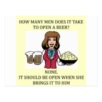 male chauvinist beer joke postcard