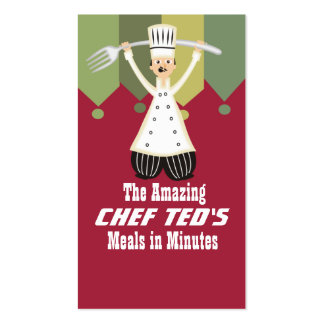 Male chef pantaloons giant fork cooking cards