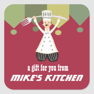 Male chef pantaloons giant fork gift tag label square sticker