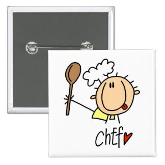 Male Chef Pinback Buttons