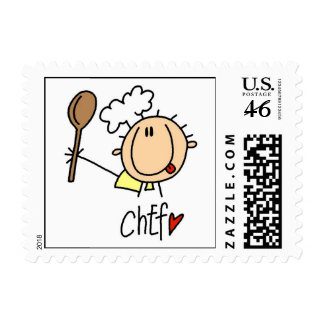 Male Chef Postage Stamp