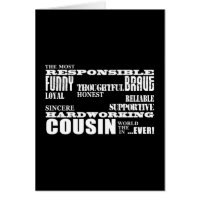 Male Cousins Best Greatest Cousin 4 him Qualities Greeting Card