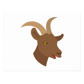 male cute goat face postcard