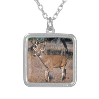 Male Deer Buck With Antlers Square Pendant Necklace