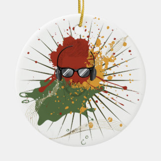 Male Dj Illustration Ceramic Ornament