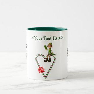 Male Elf  Heart Personalized Christmas Holiday Mug