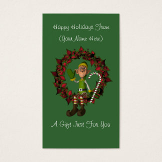 Male Elf Wreath Christmas Holiday Gift Card Tag