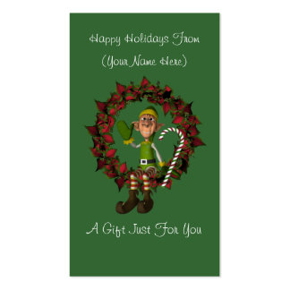 Male Elf Wreath Christmas Holiday Gift Card Tag Business Cards