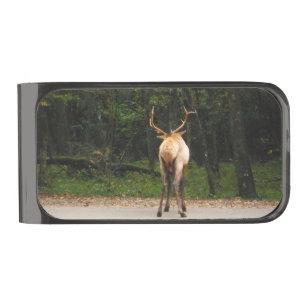 Male Elk Butt in autumn field Gunmetal Finish Money Clip