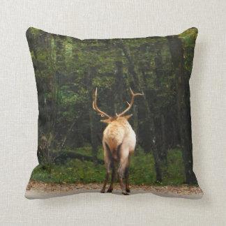 Male Elk Butt in autumn field Throw Pillow