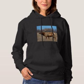 Male elk profile in autumn hoodie