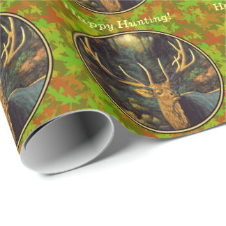 Male Elk with Autumn Leaves Wrapping Paper
