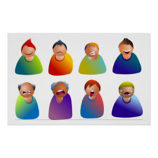 Male Emoticons Poster