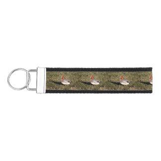 Male Eurasian Wigeon Duck walks in a grassy field Wrist Keychain