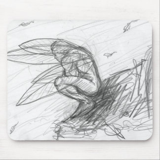 Male Fairy in the Wind Fantasy Black and White Mouse Pad
