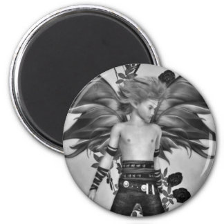 Male fantasy fairy black and white magnet