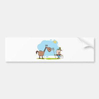 Male Farmer With Horse Bumper Sticker