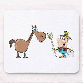 Male Farmer With Horse Mouse Pad