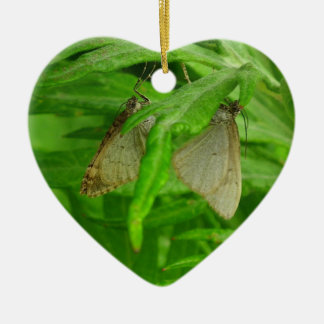 Male & Female Butterfly on a Heart Ceramic Ornament